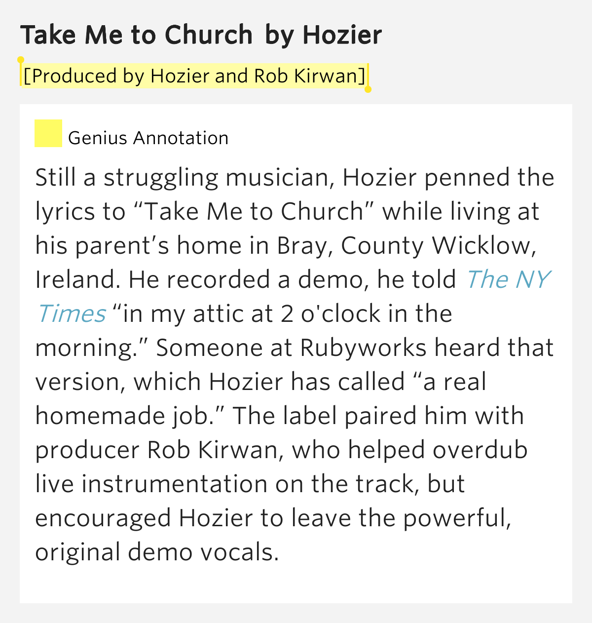 By hozier and rob kirwan take me to church lyrics meaning