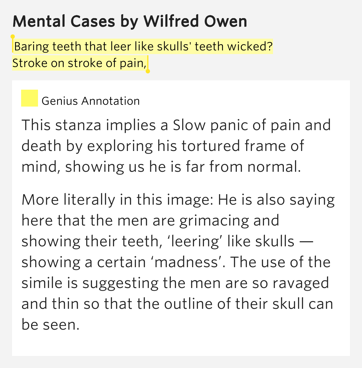 wilfred owen mental cases essay Access to over 100,000 complete essays and term papers  mental case and spring offensive, it will be apparent that owen uses many different techniques to shock .