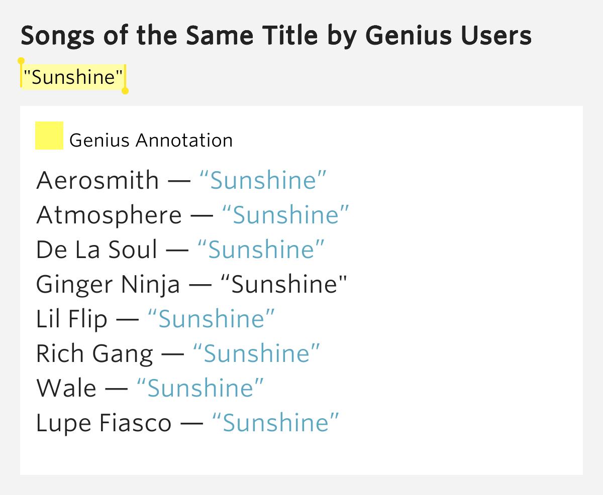 atmosphere sunshine lyrics - DriverLayer Search Engine