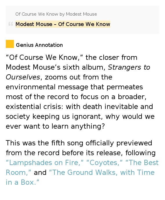 Modest Mouse Lyrics Best Room