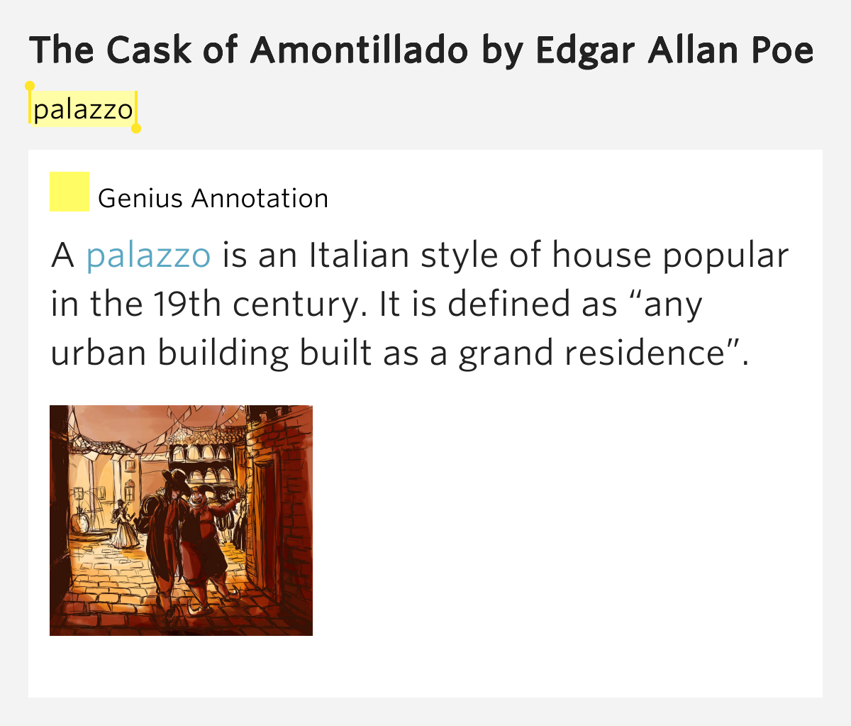 "an analysis of the edgar allan poes the cask of amontillado In ""the cask of amontillado"" by edgar allan poe, montresor, the narrator of the story, informs readers that another man, fortunato, has offended him."