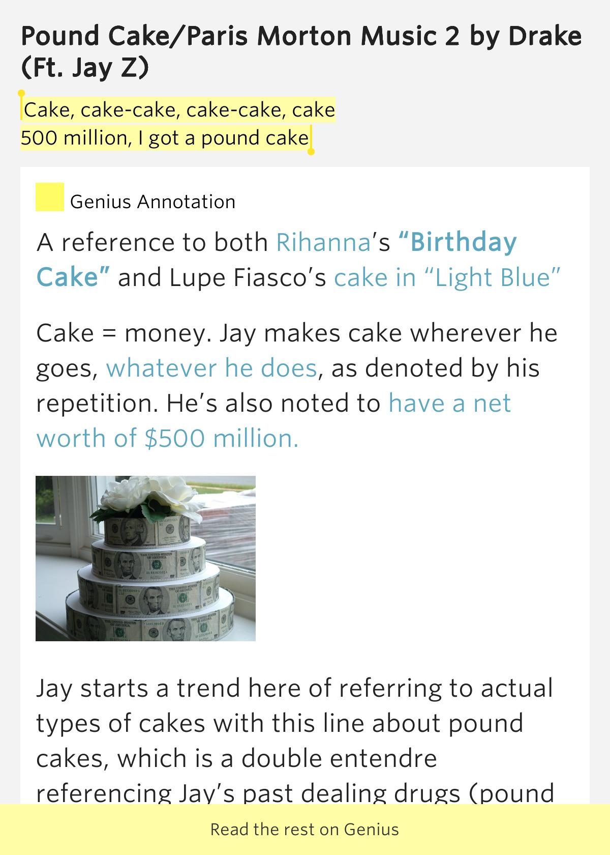 Pound Cake Meaning Drake