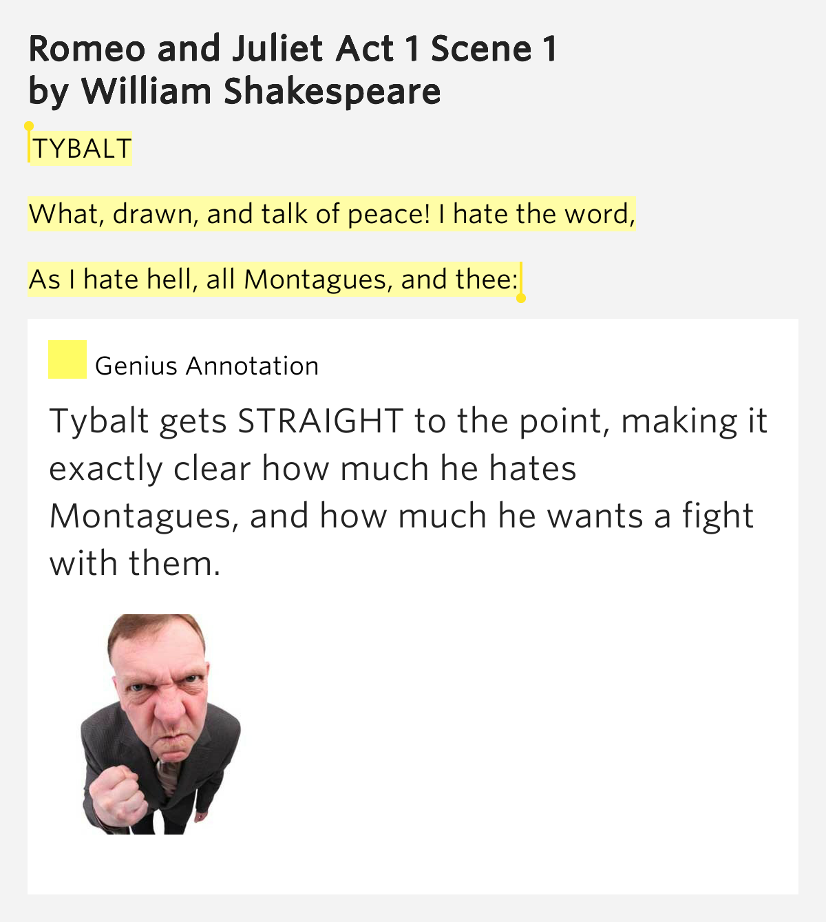 the anger and hatred of tybalt in william shakespeares romeo and juliet Love versus logic in romeo and juliet romeo and juliet is one of the  after tybalt's death, juliet and romeo still choose to  william romeo and juliet.