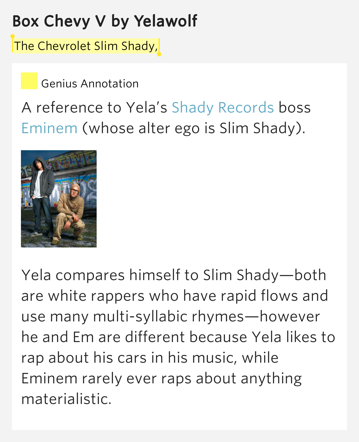 The Chevrolet Slim Shady, – Box Chevy V Lyrics Meaning