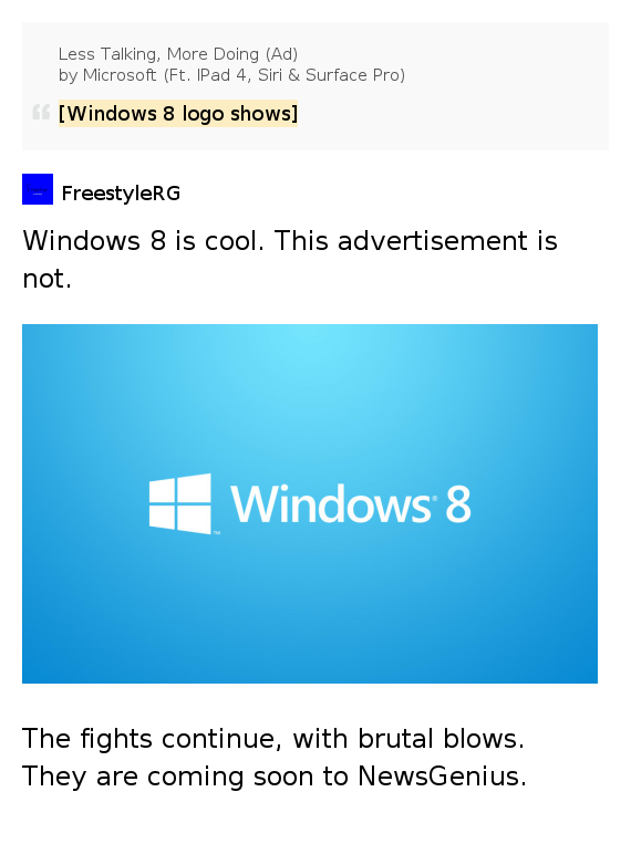 Windows 8 logo shows less talking more doing ad by microsoft