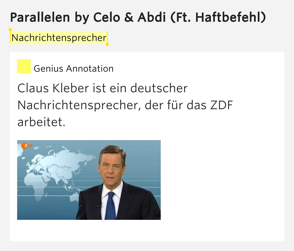 Nachrichtensprecher parallelen lyrics meaning for Nachrichtensprecher zdf