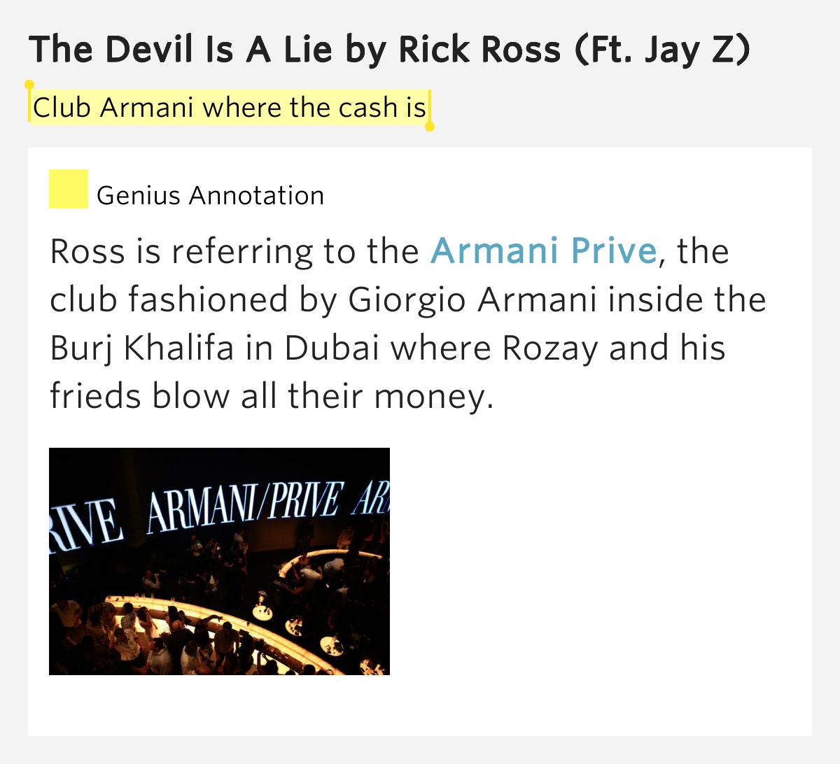 Lucifer Jay Z Lyrics: Club Armani Where The Cash Is