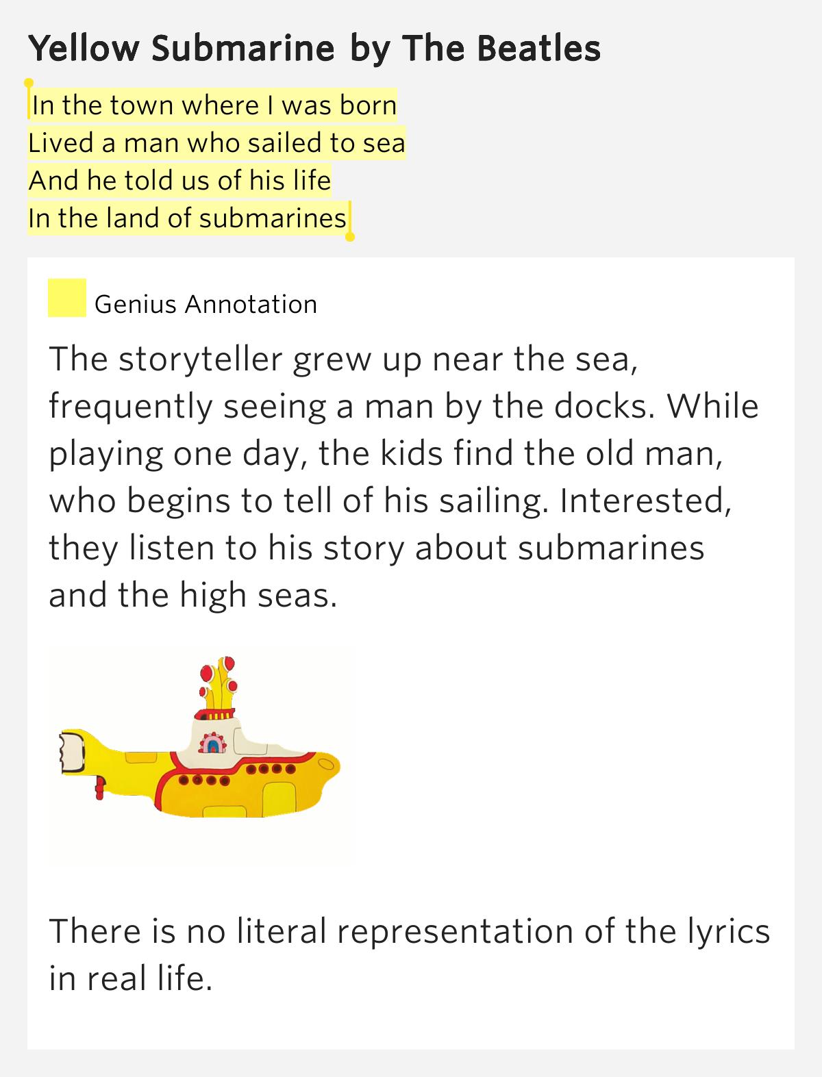 Lyrics containing the term: Yellow Submarine
