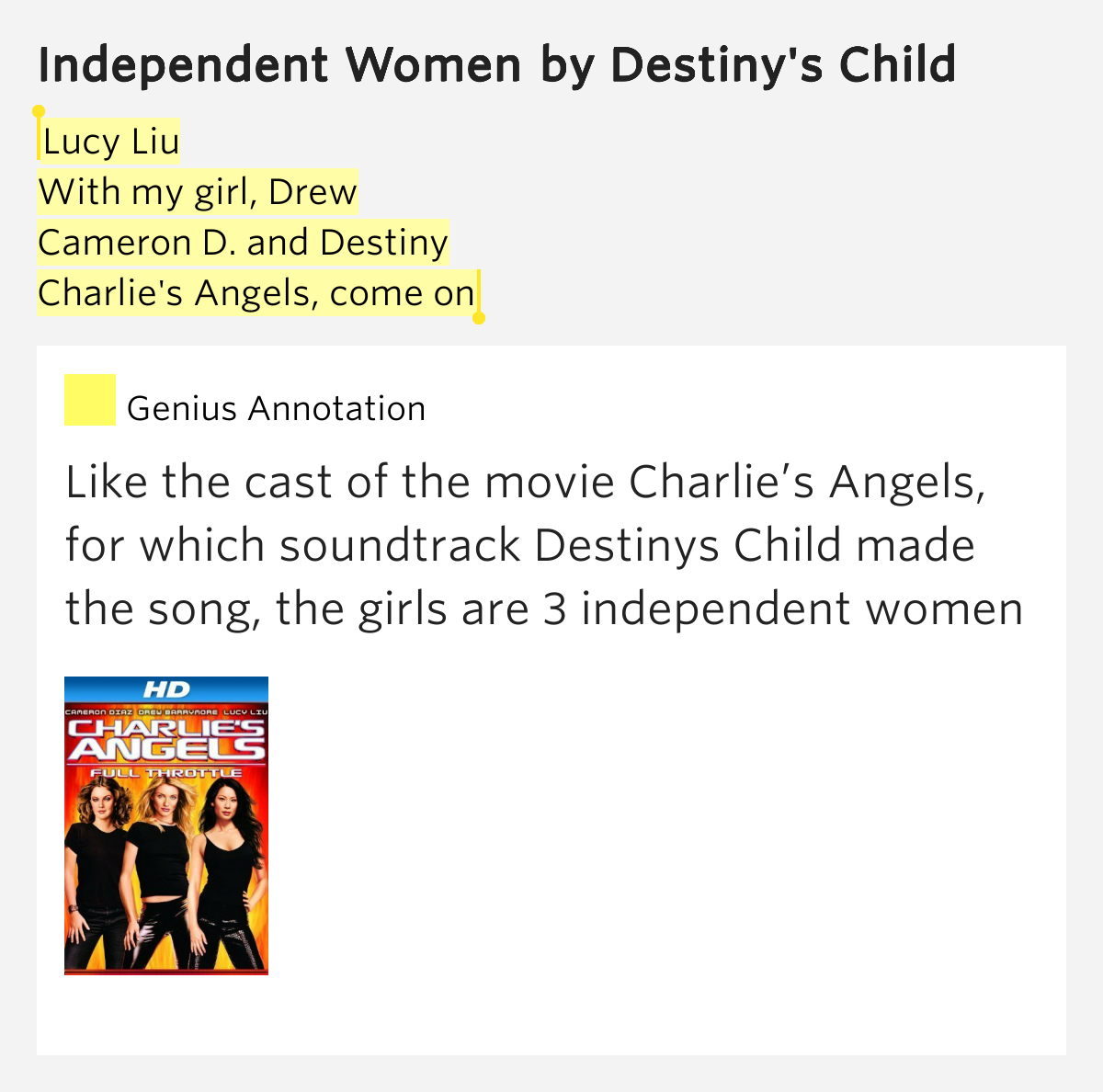 Destiny's Child – Independent Women - Part 1 Lyrics ...
