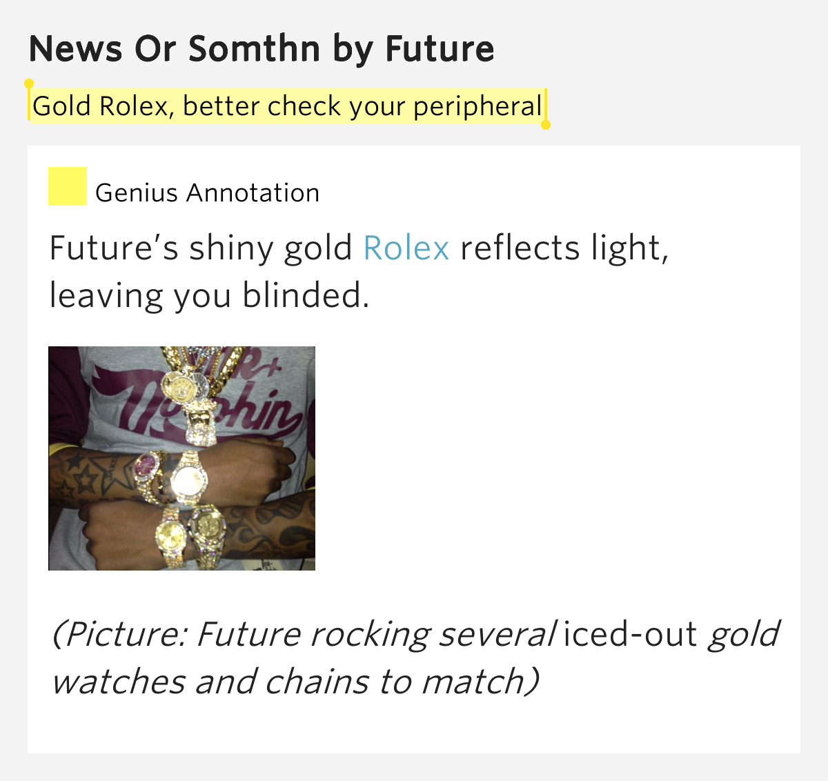 Gold Rolex Better Check Your Peripheral News Or Somthn