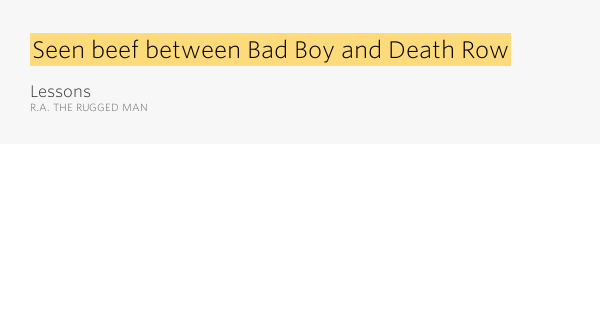 Seen Beef Between Bad Boy And Death Row Lessons