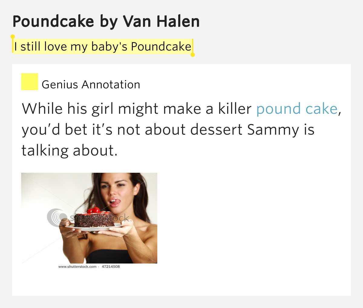Pound Cake Lyrics Van Halen Meaning