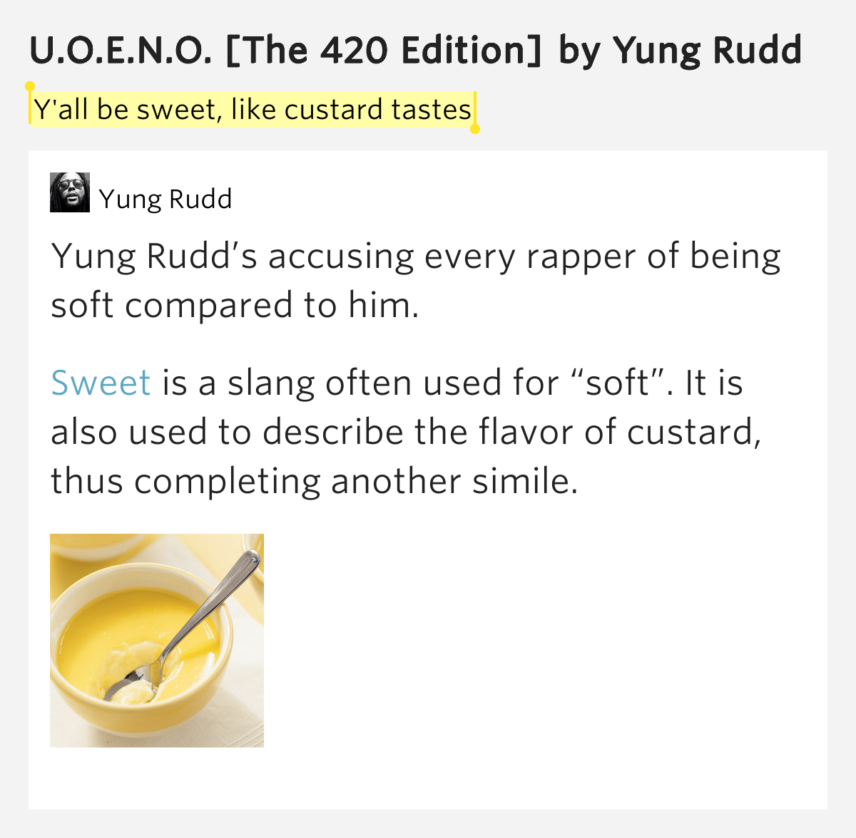 yall be sweet like custard tastes � uoeno the 420