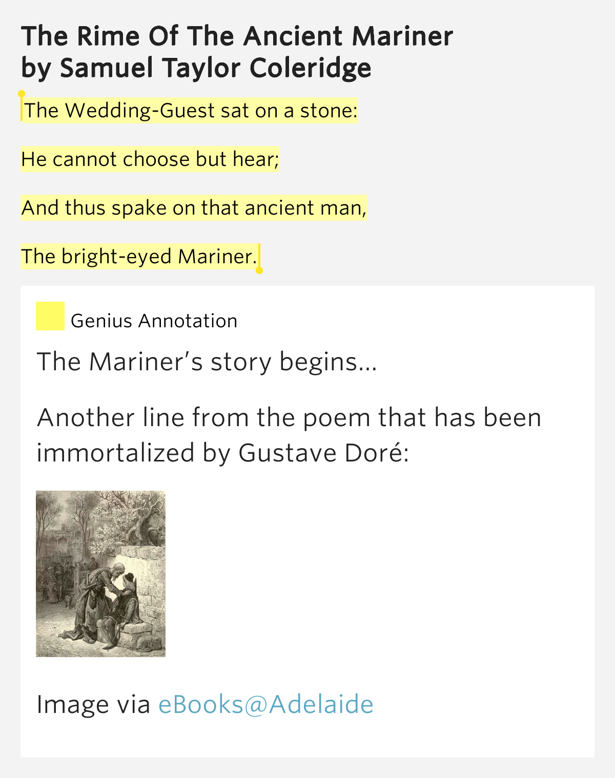 a focus on the wedding guest in samuel taylor coleridges the rime of the ancient mariner What inspired coleridge to write the rime of why the mariner what is the wedding guest samuel taylor coleridge's the rime of the ancient.