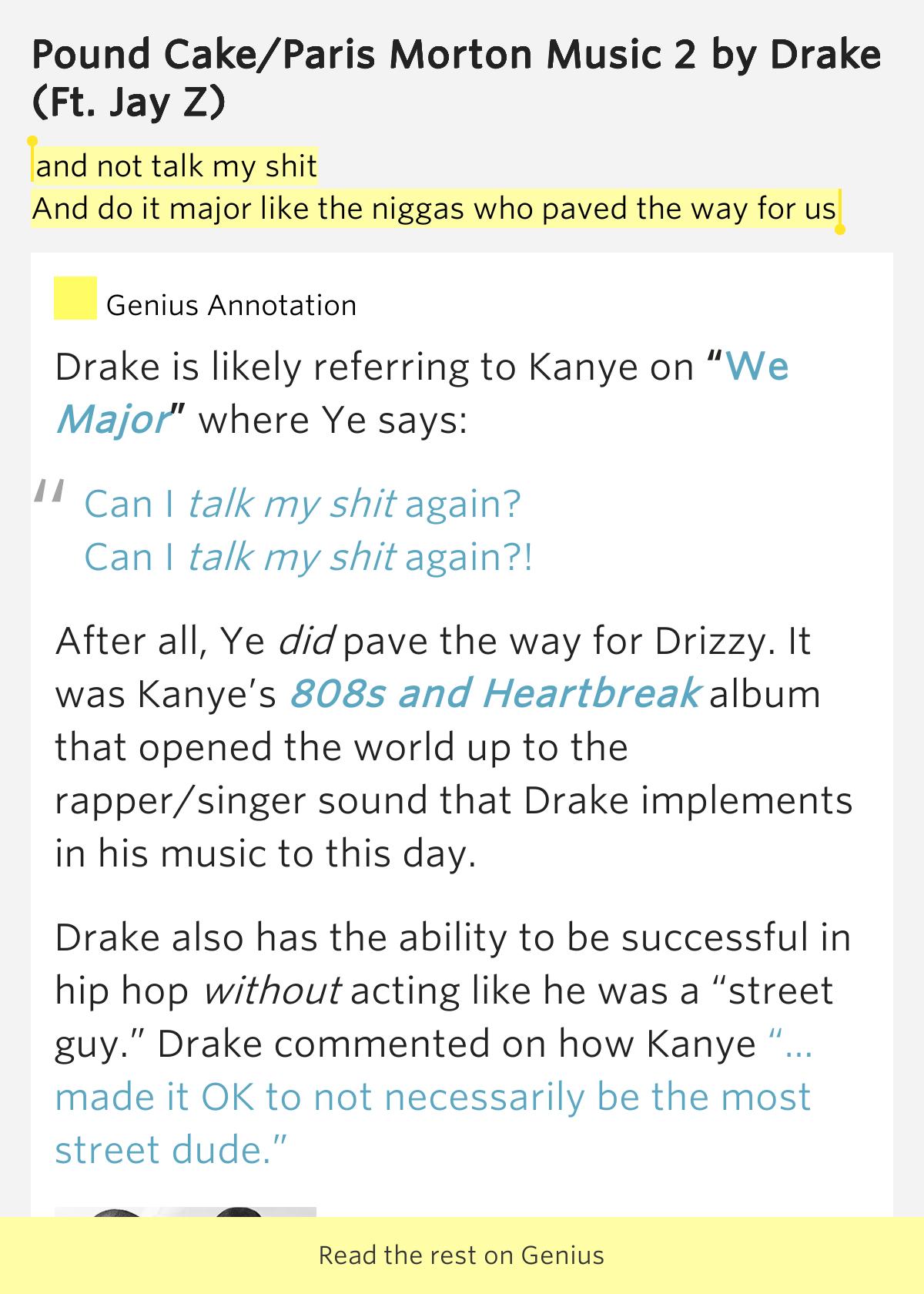 Drake Pound Cake Rap Genius