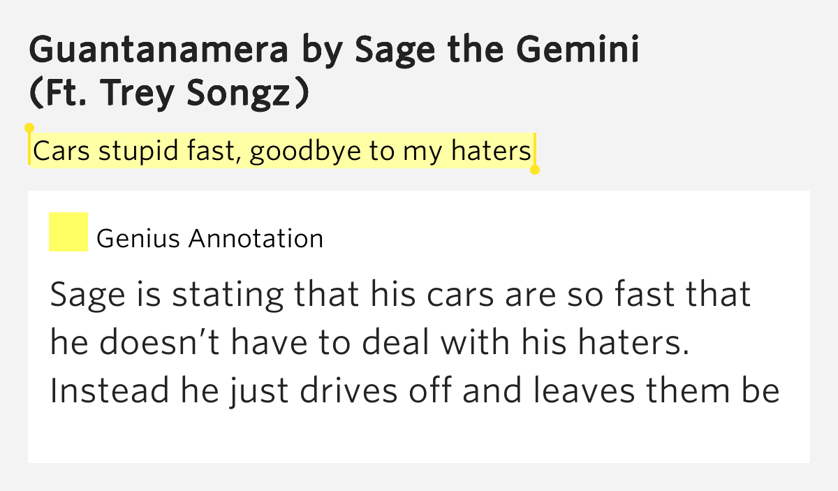 Cars Stupid Fast, Goodbye To My Haters