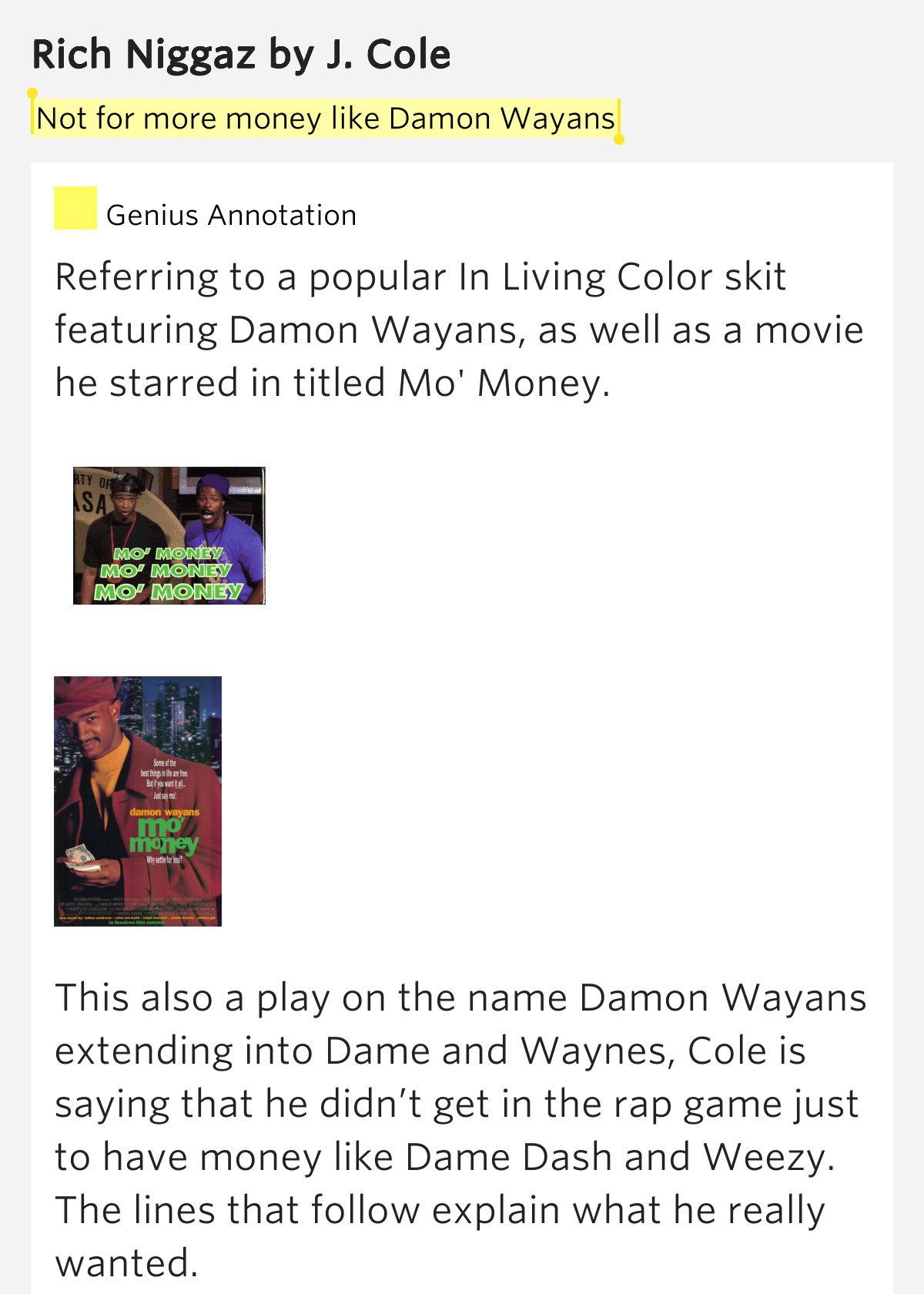 Not for more money like damon wayans rich niggaz lyrics for Domon name meaning