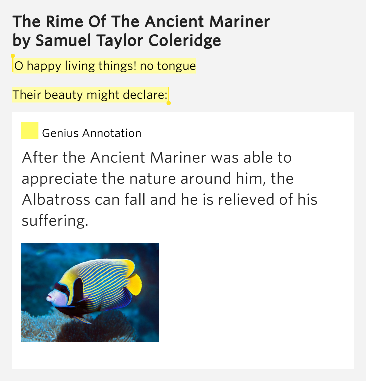 a revelation in life in the rime of the ancient mariner by samuel coleridge Samuel taylor coleridge's the rime of the ancient mariner has been critiqued  since  coleridge struggled with his faith for most of his adult life, and this was  directly  this revelation to the reader would link the mariner to a.