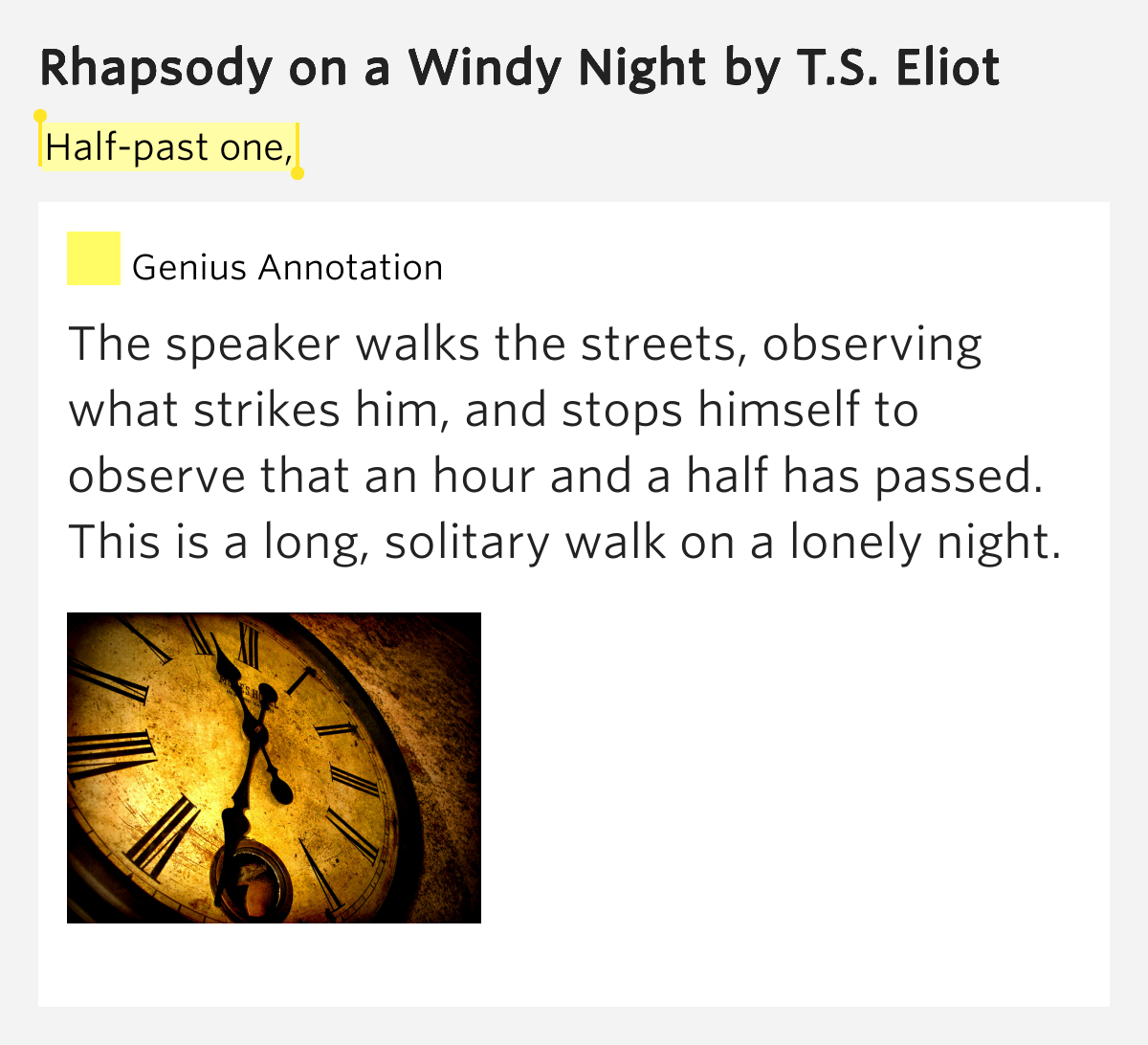 modernism t s eliots rhapsody on The wildly famous show tune memory by andrew lloyd webber was inspired by t s eliot's rhapsody on a windy night and preludes this article analyzes the former.
