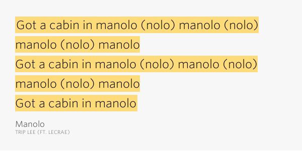 Got A Cabin In Manolo Nolo Manolo Nolo Manolo Nolo