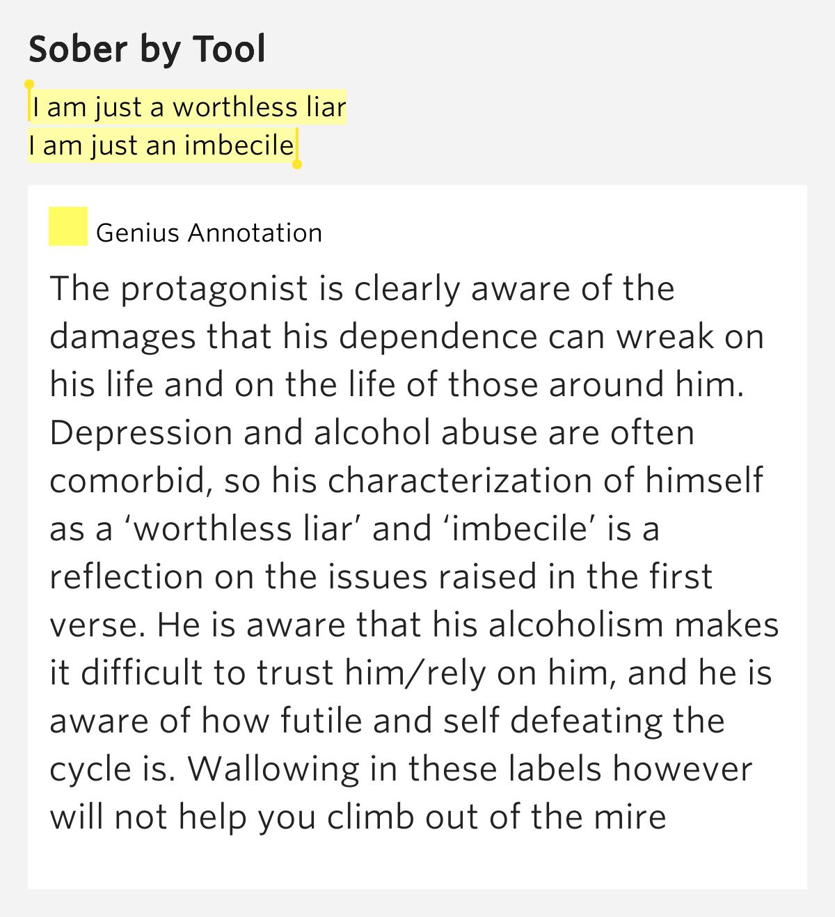 Lyrics sober tool meaning person - Thepix info