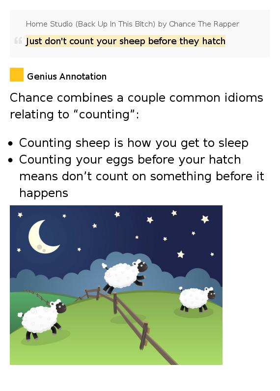 Lyrics containing the term: counting sheep