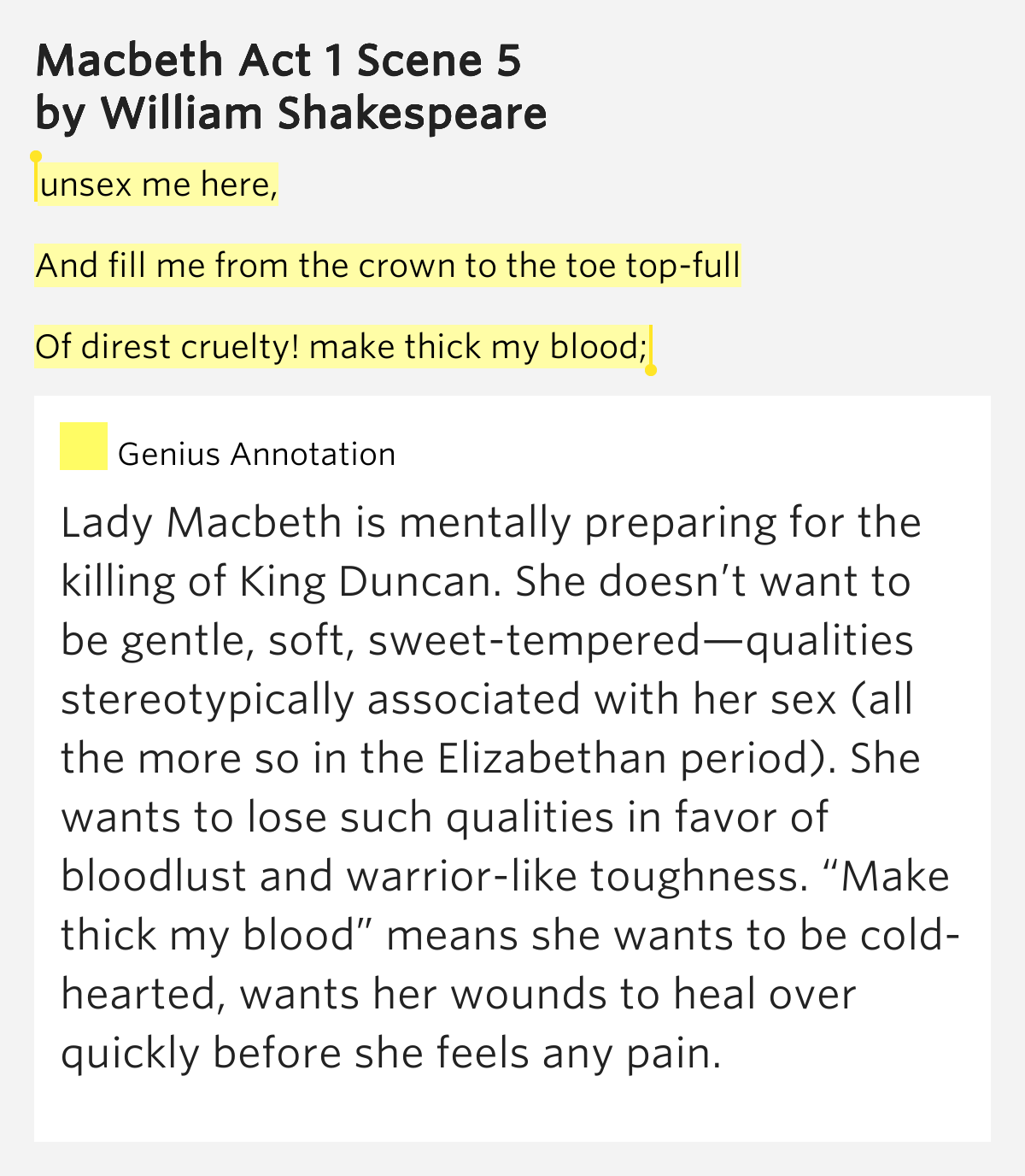 the meaning of the blood imagery in macbeth by william shakespeare Macbeth by william shakespeare home / literature / macbeth / macbeth symbolism, imagery, allegory back blood (click the symbolism.