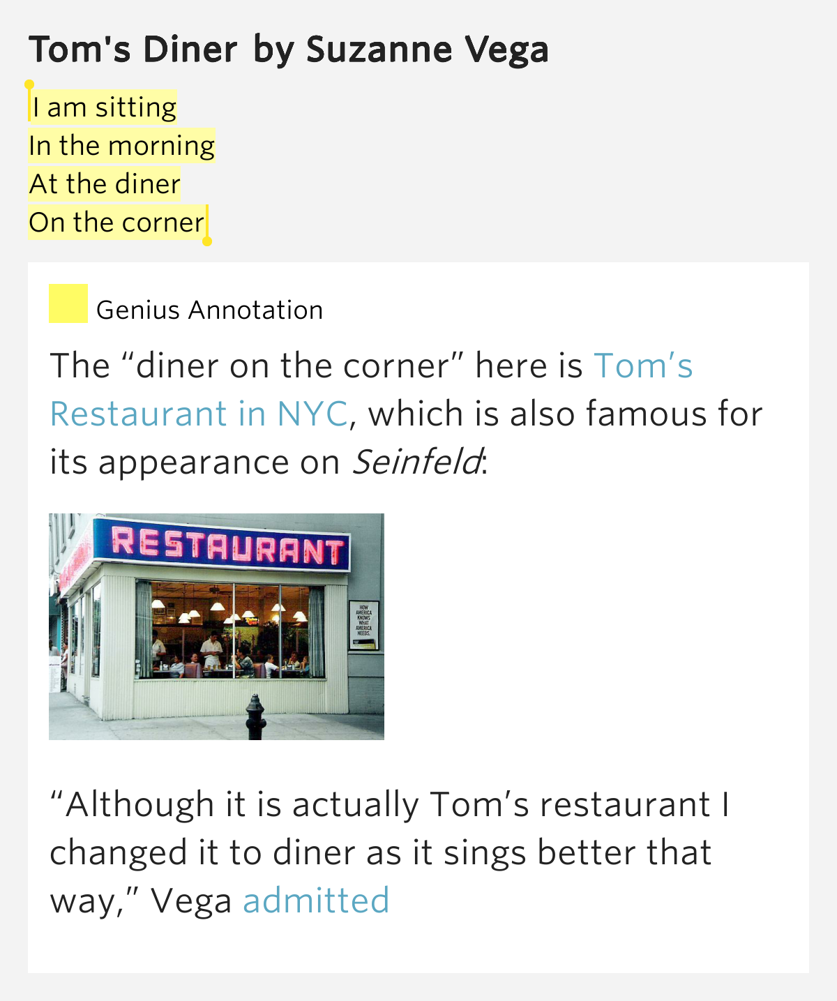 Suzanne Vega - Tom's Diner (Lyrics) - YouTube