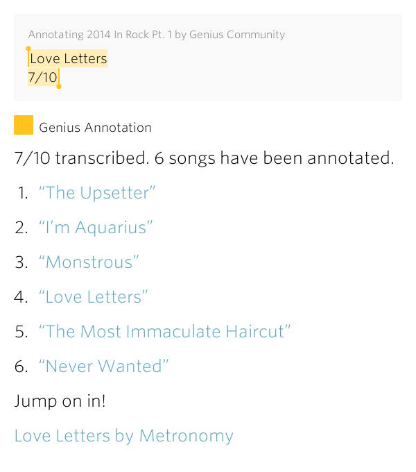 Love Letters 7 10 Annotating 2014 In Rock Pt 1