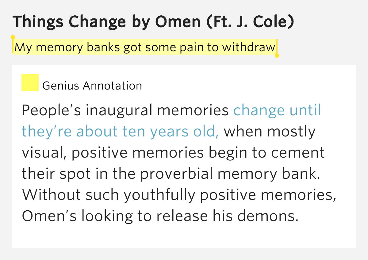 My memory banks got some pain to withdraw things change for Portent meaning
