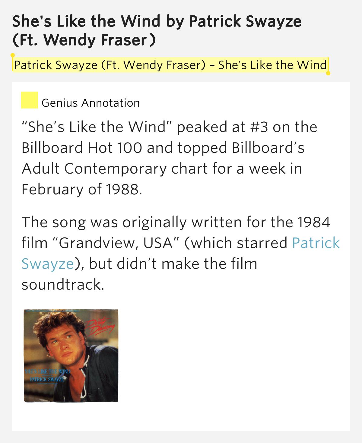 She's Like the Wind – She's Like the Wind by Patrick Swayze