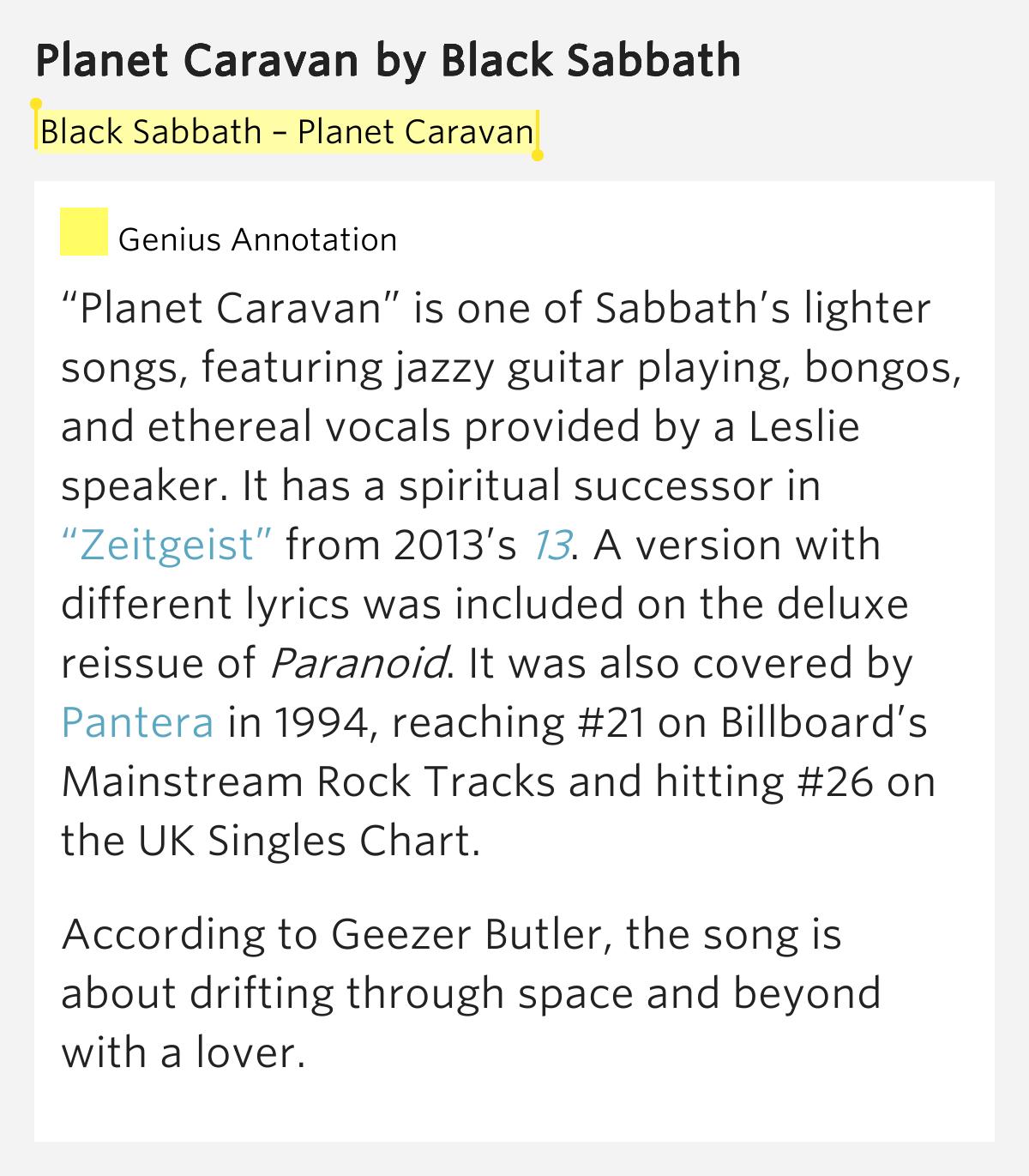 Black Sabbath – Planet Caravan Lyrics | Genius Lyrics