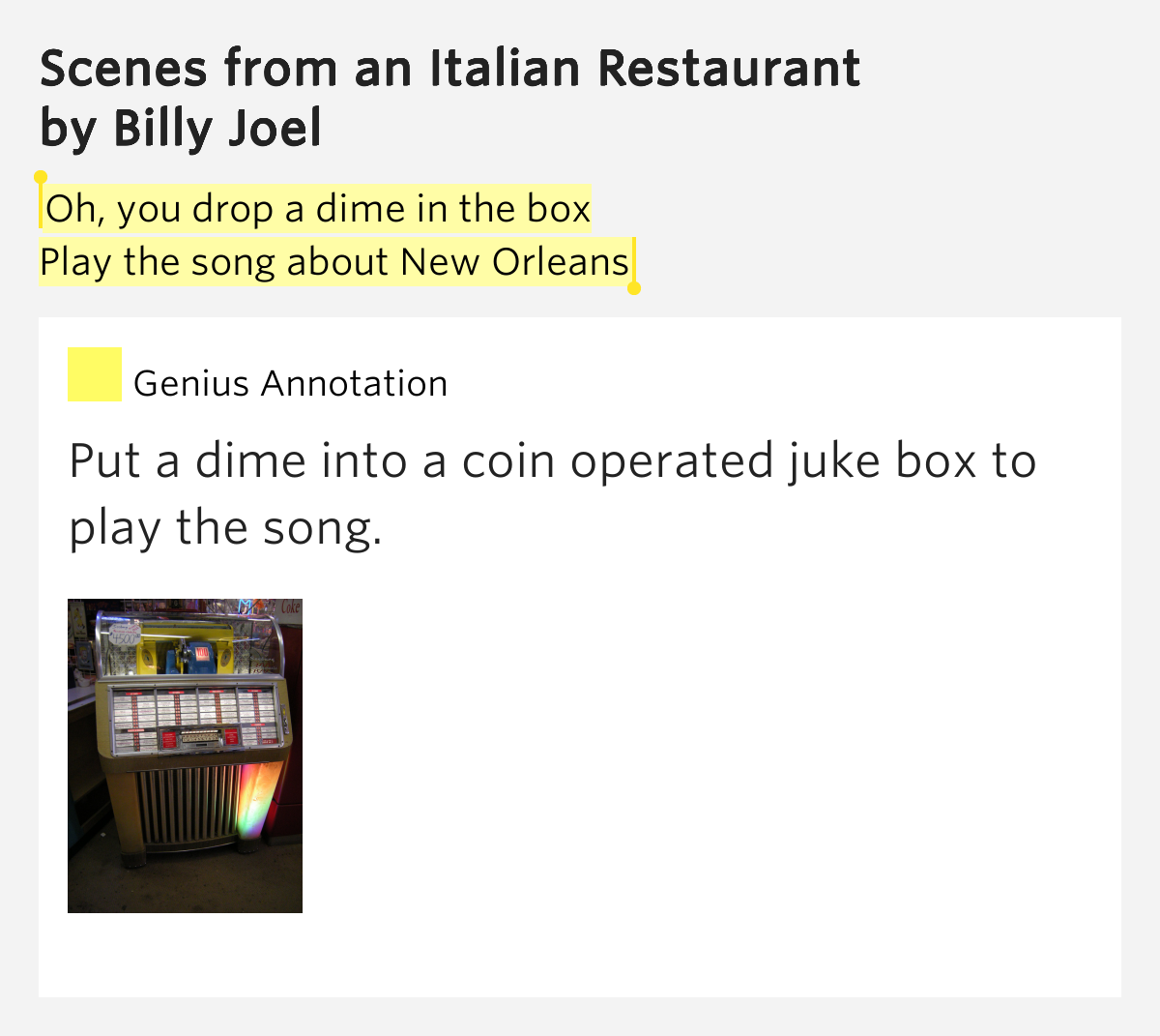 Scenes From An Italian Restaurant Lyrics Genius