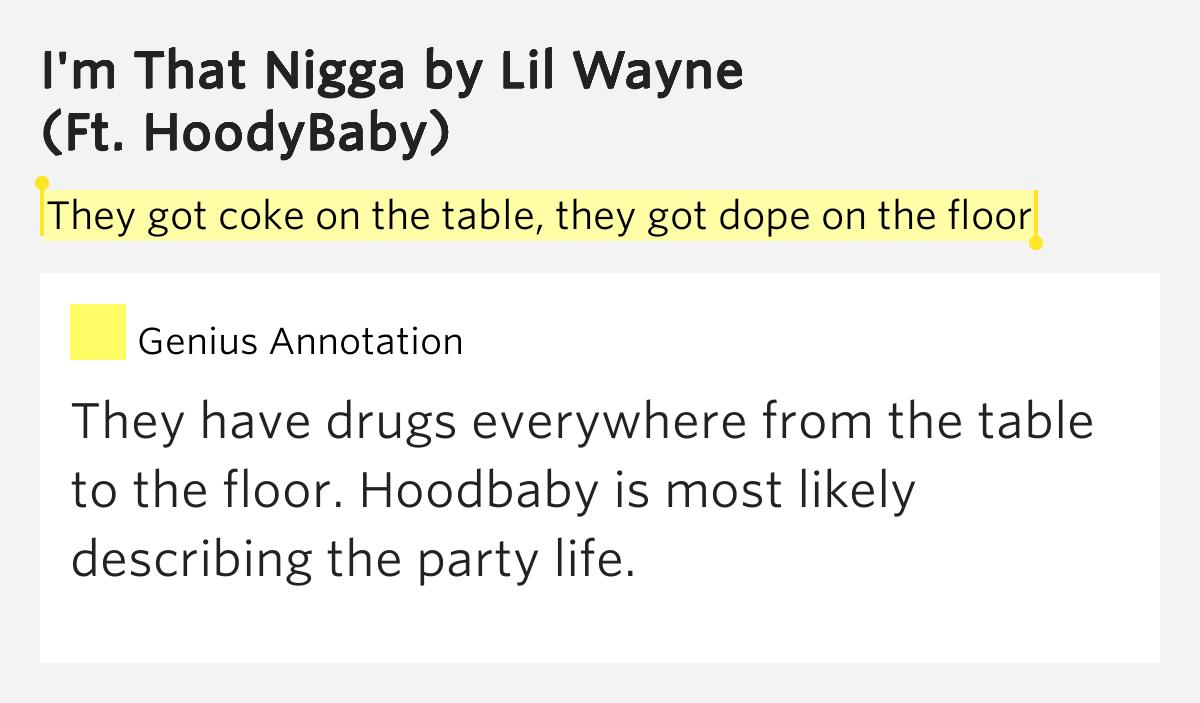 They got coke on the table they got dope on the floor i for M floor meaning