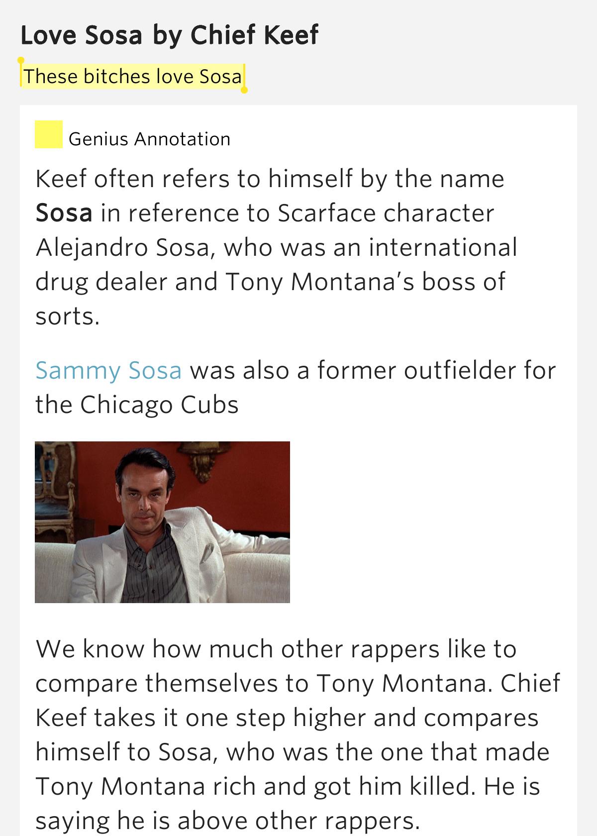 These bitches love Sosa – Love Sosa Lyrics Meaning