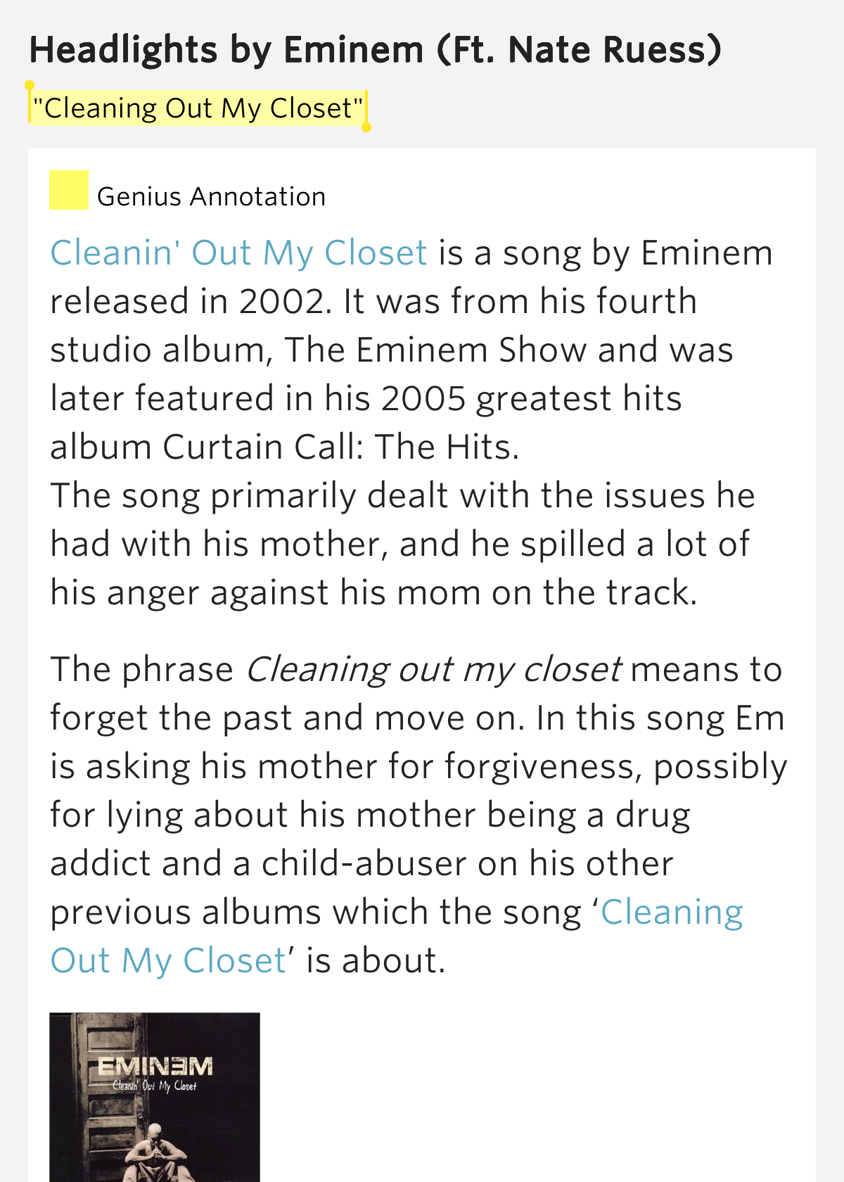 Clean up my closet lyrics