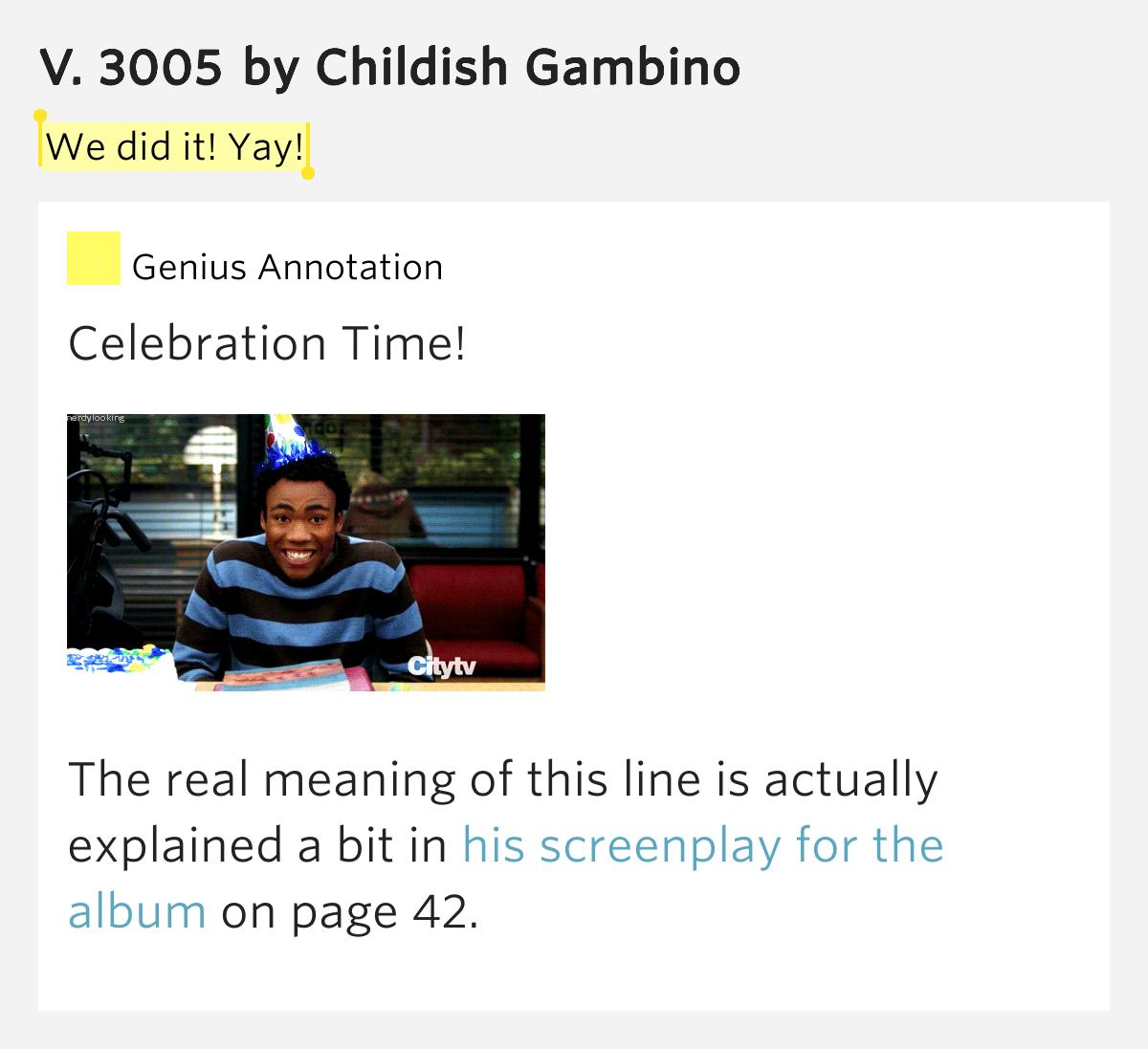 childish gambino lyrics 3005 - photo #12