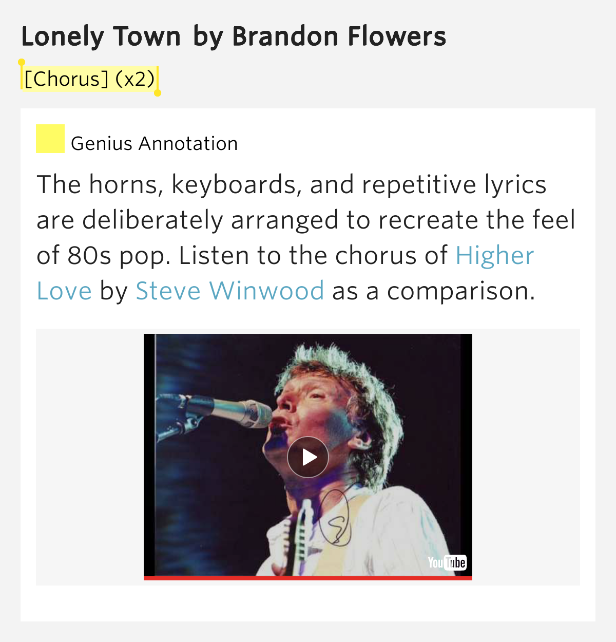 [Chorus] (x2) – Lonely Town by Brandon Flowers