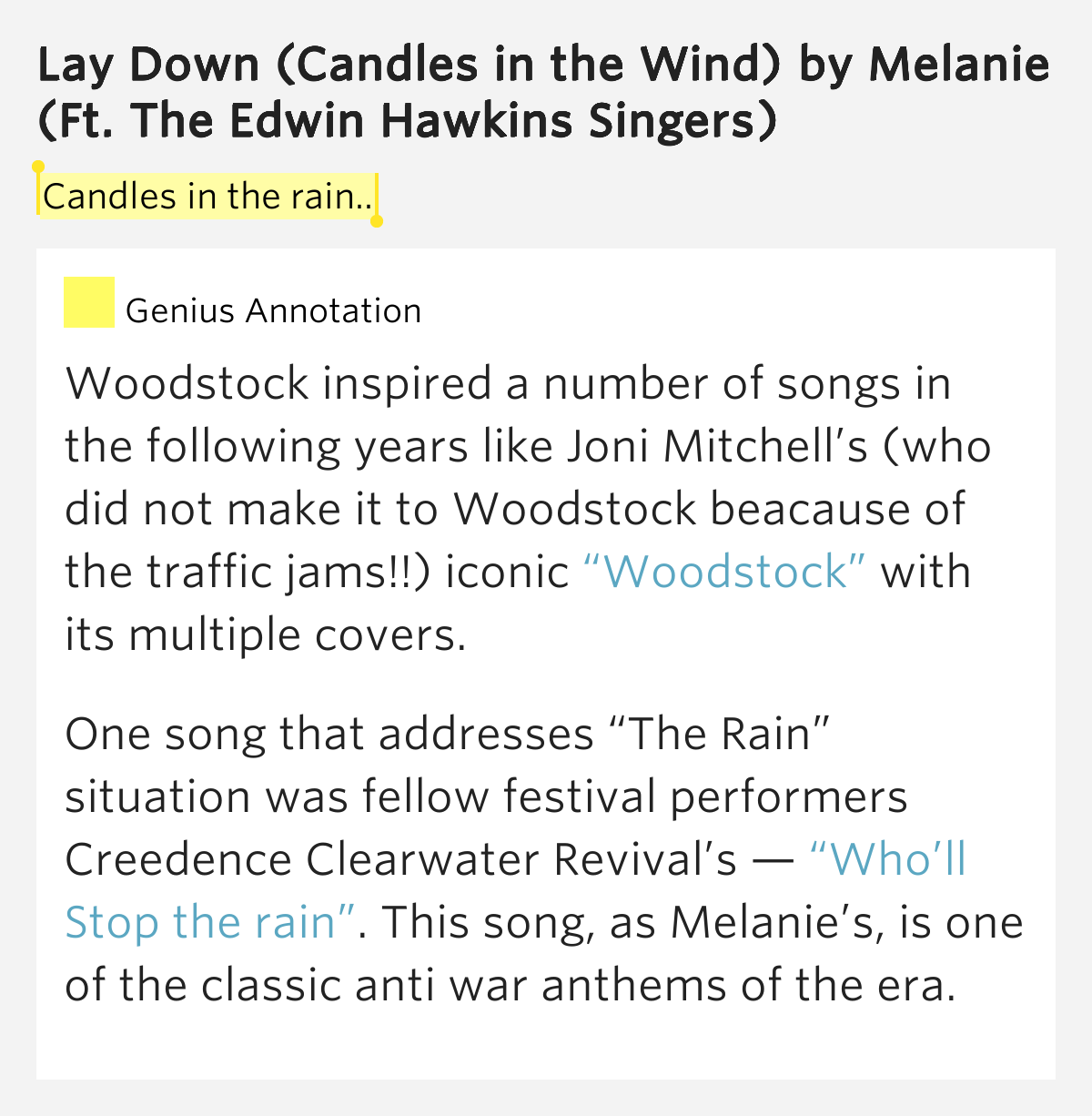 Melanie – Lay Down (Candles in the Rain) Lyrics | Genius ...