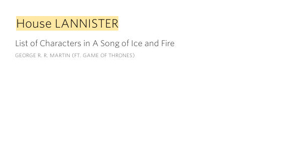 House lannister list of characters in a song of ice and fire for List of house music songs