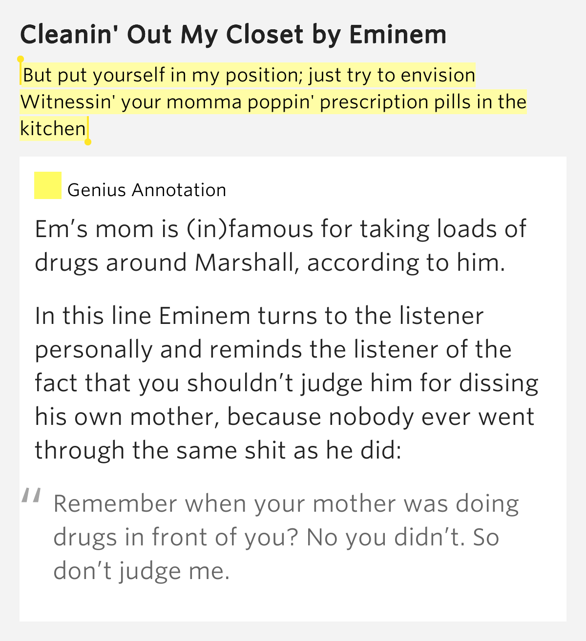 Clean out my closet lyrics