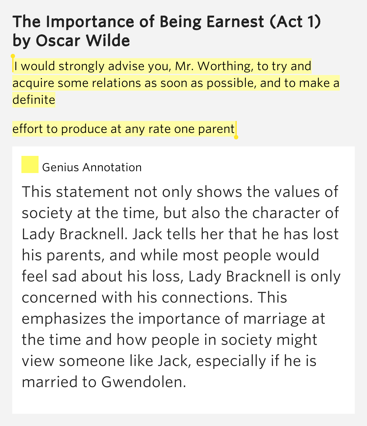 the importance of being earnest psuedo relations Appearance was everything, and style was much more important than substance  so, while a person could lead a secret life, carry on affairs within marriage or.