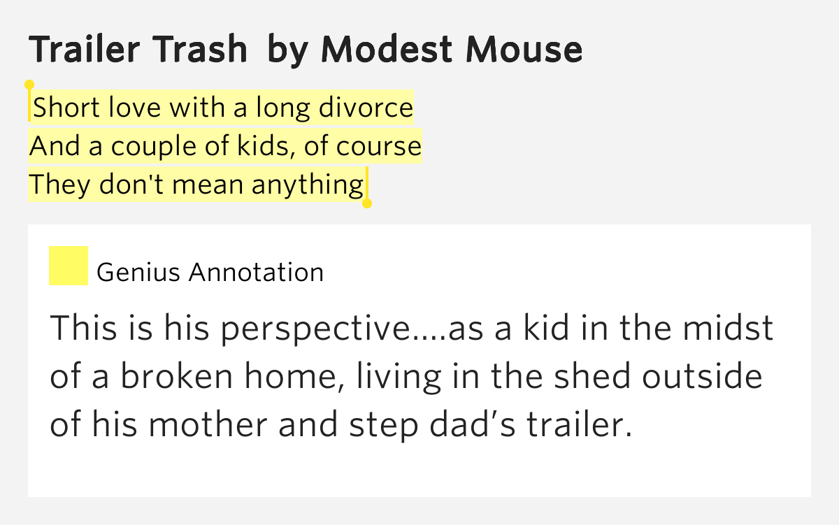 Modest Mouse – Trailer Trash Lyrics | Genius Lyrics