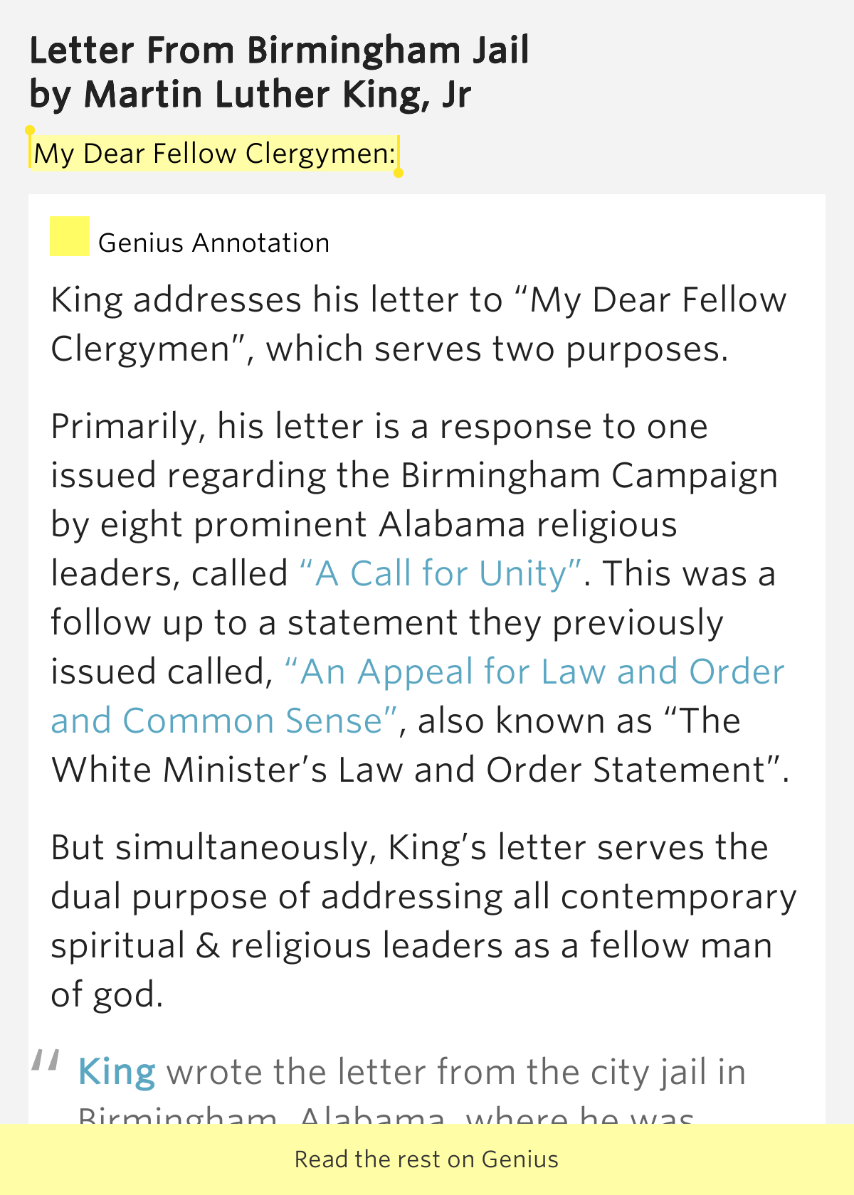 public statement by eight alabama clergymen essay Analysis of the letter from birmingham jail  king responds to a public statement made by eight white clergymen  king by the eight alabama clergymen,.