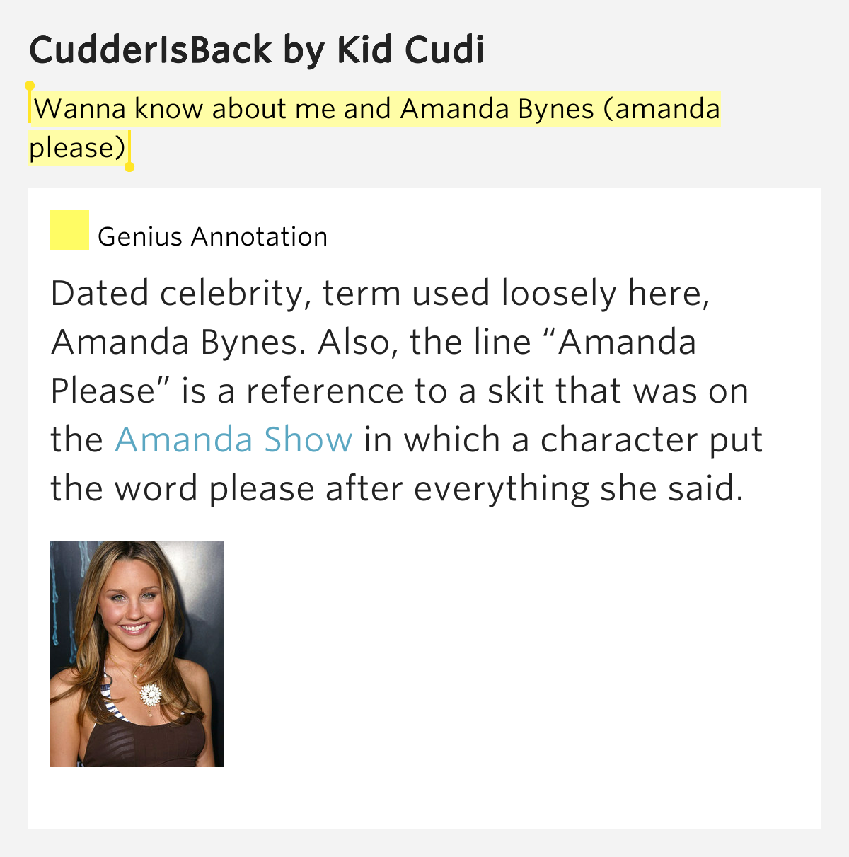 Amanda Bynes Kid Cudi Song