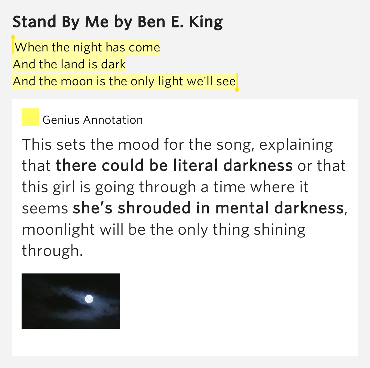 Light Stand Lyrics: When The Night Has Come / And The Land Is Dark /..