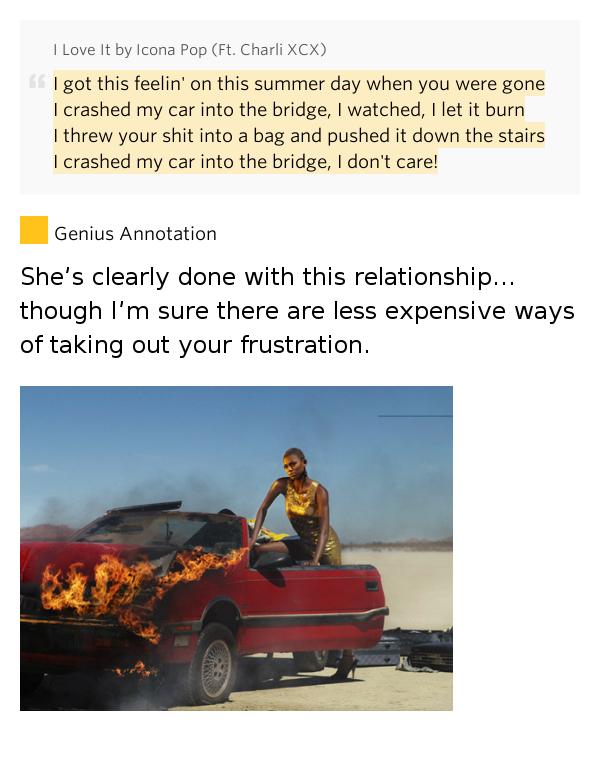 I Crashed My Car Into A Bridge Lyrics Meaning