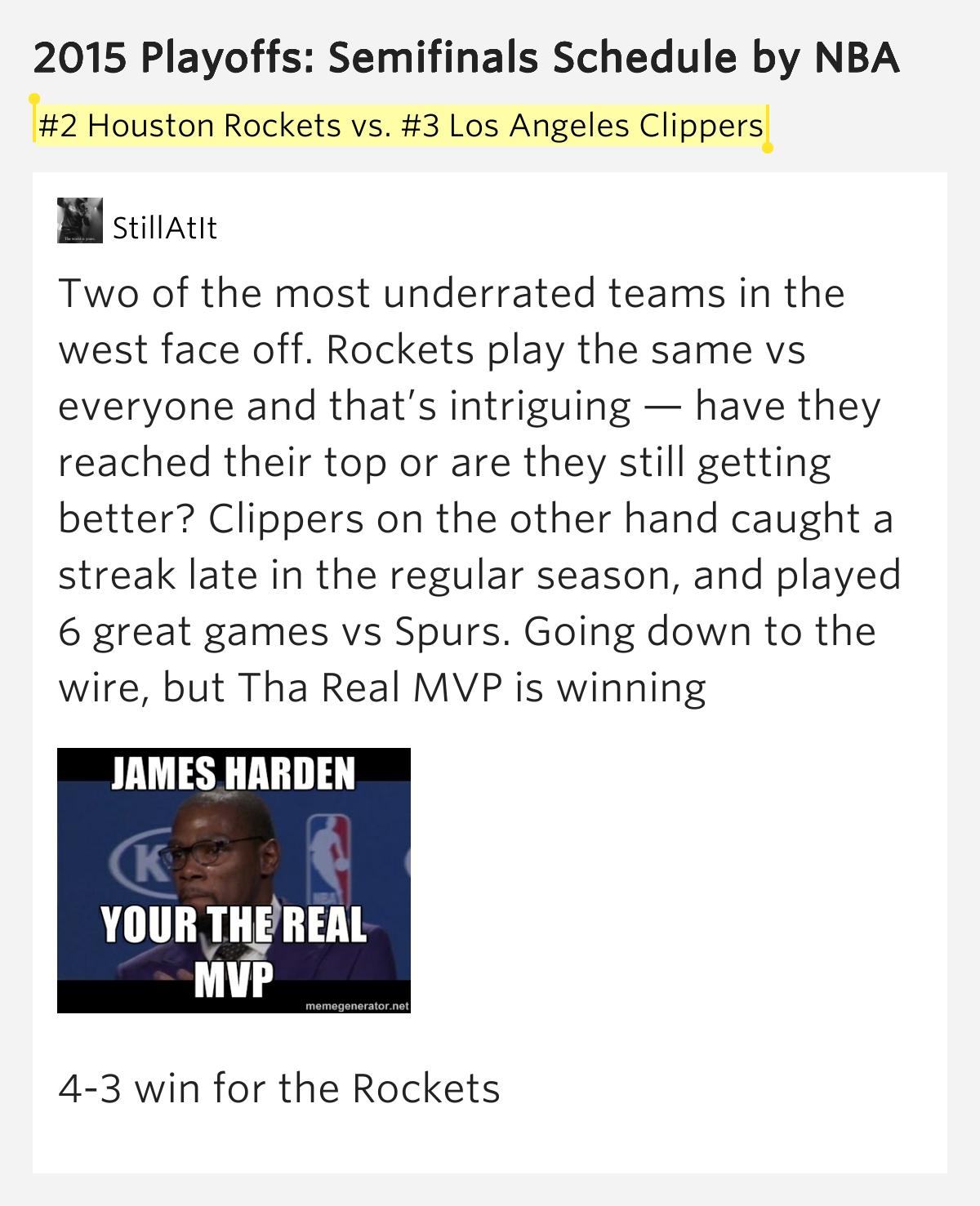 #2 Houston Rockets Vs. #3..