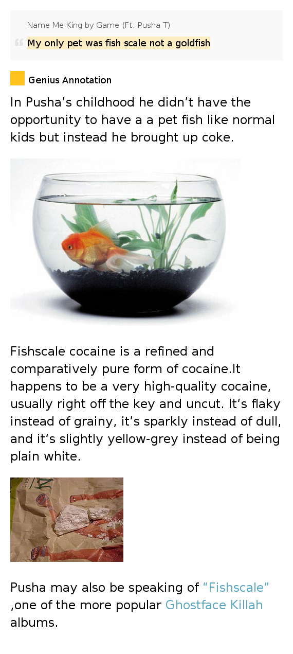 My only pet was fish scale not a goldfish name me king for Fish scale coke
