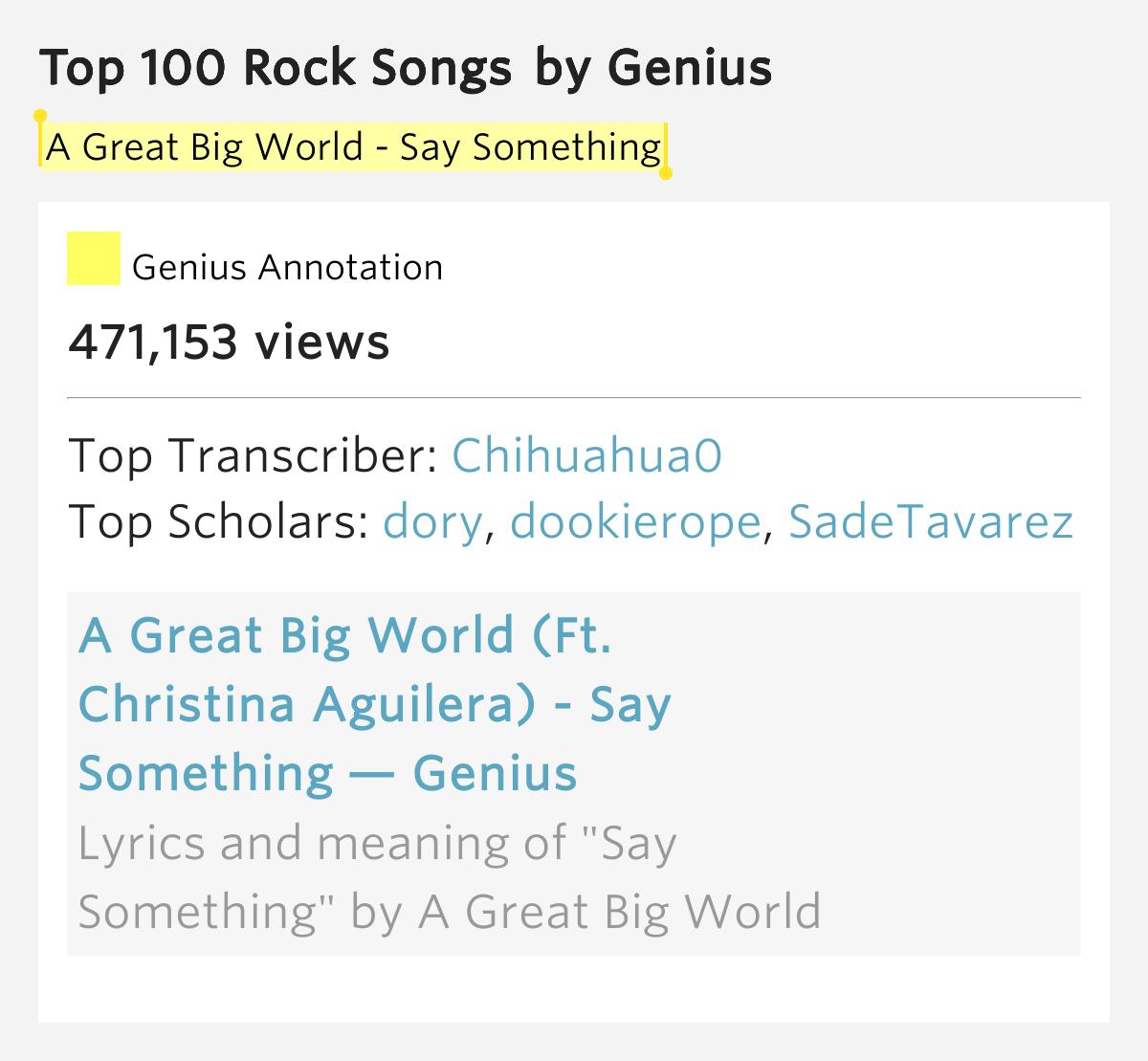Top 100 rock lyrics